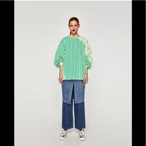 NWT Zara Size Small Striped Sweatshirt With Lace